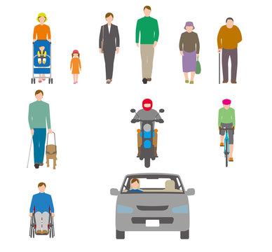 人、自転車、自動車を正面から見たイラスト