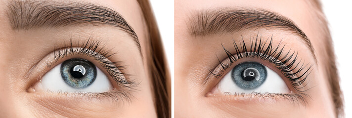 Beautiful young woman before and after eyelashes lamination, closeup