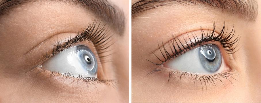 Beautiful young woman before and after eyelashes lamination, closeup