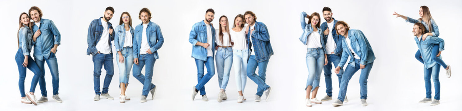 Collage with stylish young people in jeans clothes on white background
