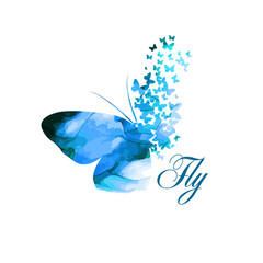 blue paint butterfly. Abstract mosaic of butterflies. . Mixed media. Vector illustration