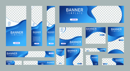 set of creative web banners of standard size with a place for photos. Vertical, horizontal and square template. vector illustration Wall mural