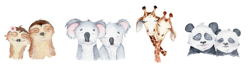 Watercolor animals character collection. Panda, sloth, giraffe, koala