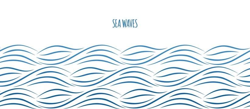 Sea waves border. Ocean water background. Nautical vector seamless pattern