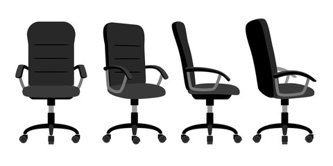 Office chair front and back. Vector minimal office chairs angle view isolated on white background, empty work stool with wheels vector illustration