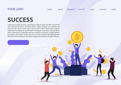 Vector illustration of happy business team celebrates success standing under money rain banknotes cash falling on blue background.