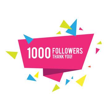 1000 followers. Thank you Greeting card design template wor social media.
