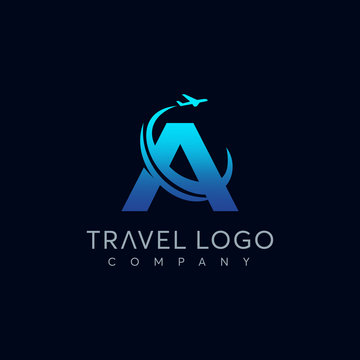 Letter A tour and travel logo design vector