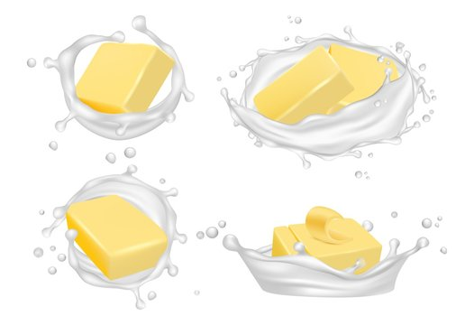 Realistic butter and milk splashes. Vector creamy butter isolated on white background. Milk and butter for breakfast, snack cream product illustration