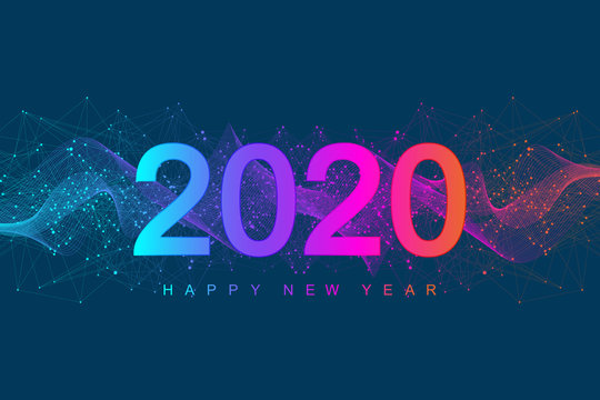 Merry Christmas and Happy New Year 2020 greeting card. Modern futuristic template for 2020. Digital data visualization. Business technology concept. Vector illustration
