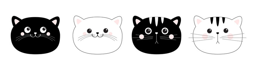 Black white cat head face line contour silhouette icon set. Funny kawaii smiling sad doodle animal. Pink blush cheeks. Cute cartoon funny character. Pet collection. Flat design Baby background.