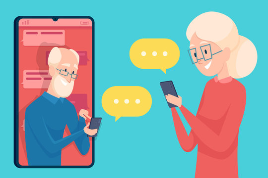 Old person messaging. Smartphone dialog dating of older person male and female online call talking elderly characters vector concept. Illustration woman and man elderly web communication