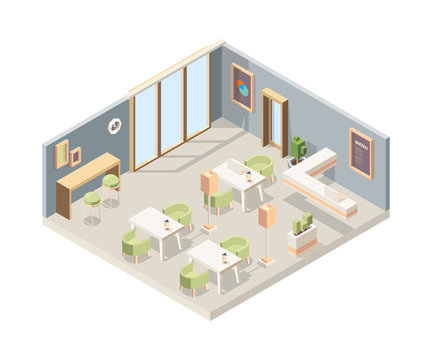 Restaurant isometric. Cafe modern interior storefront walls 3d furniture flooring vector low poly picture. Plan interior 3d isometric restaurant illustration