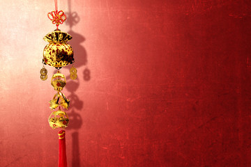 Chinese New Year Ornament with red wall background