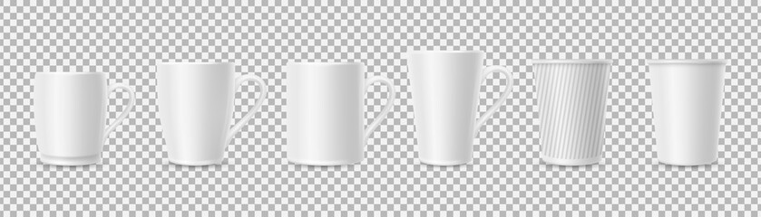 White cups. Realistic 3D cup mockups isolated on transparent background. Coffee, tea mugs vector set. Illustration mug for drink or hot beverage, ceramic cup with handle
