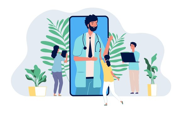 Online doctor. Medical consultation mobile app. Tiny people asking internet doctor vector concept. Illustration medicine online app, medical mobile