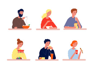 People eating. Hungry characters with different food vector person eating flat pictures. Guy eating and drink, people sitting at table with food illustration