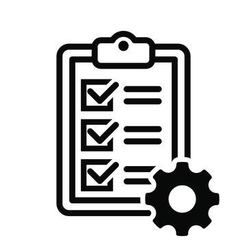 Technical check list vector icon. Checklist clipboard illustration sign. specification symbol.