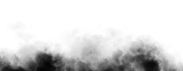 Panoramic view mystic dynamic smoke on isolated background. Design texture freezing effect fog . Stock illustration.