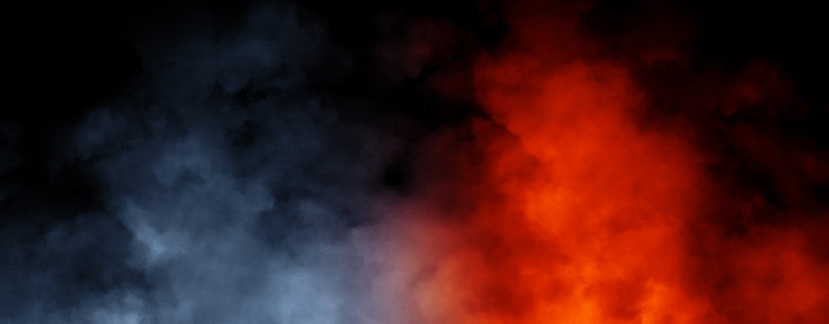 Panoramic view abstract blue and orange smoke steam moves on black background texture . The concept of aromatherapy. Stock illustration.