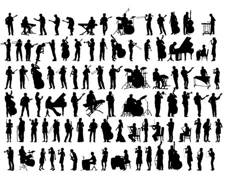 Jazz musicians with instruments on stage. Isolated silhouettes of people on a white background