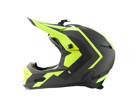 Side view of full face black helmet for downhill mountain bike, BMX and motocross riding. Extreme sport equipment isolated on white background