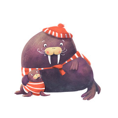 Digital drawn walrus family. Father and son. Endangered animals.  Perfect for greeting card or t-shirt.