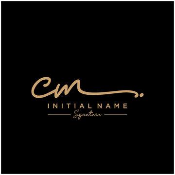 Letter CM Signature Logo Template Vector