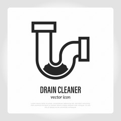 Drain cleaning thin line icon. Clogged pipe. Logo for plumbing. Vector illustration.