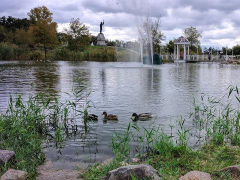 The pond at Rainbow Park, in Zaporizhzhya, Ukrain