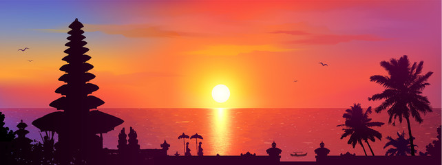 Traditional Balinese temple and palm trees silhouettes on colorful sunset background, Bali panorama view vector illustration Fototapete