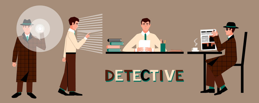 Set of a detective in a hat with a flashlight, at a table, by the window, in a cafe. Reading concept. Male character in various poses. Flat vector illustration.