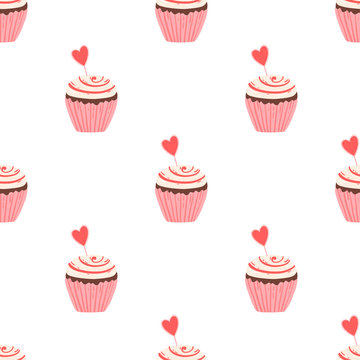 Cupcake pattern with jam decorated for Valentine's day.