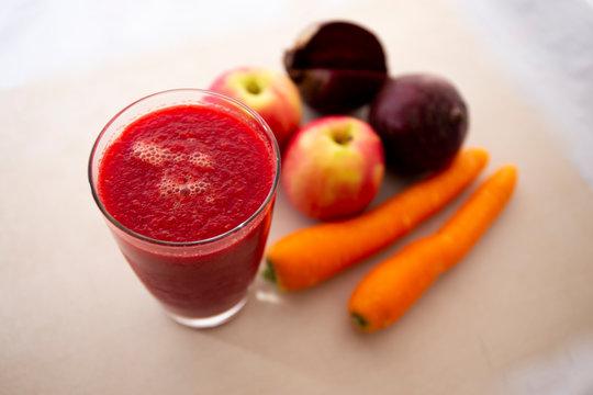 Apple, Carrot, Beetroot juice with juice mixer
