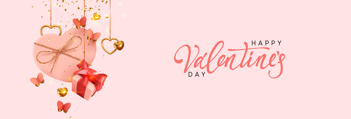 Fototapete - Valentine's Day. Background with realistic festive gifts box. Romantic present. pink boxes with red ribbon gift surprise, Golden 3d hearts, glitter gold confetti. Decorative flying butterflies