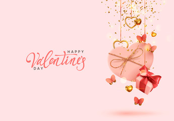 Valentine's Day. Background with realistic festive gifts box. Romantic present. pink boxes with red ribbon gift surprise, Golden 3d hearts, glitter gold confetti. Decorative flying butterflies