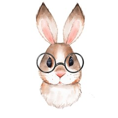 Little bunny with glasses. Cute watercolor illustration