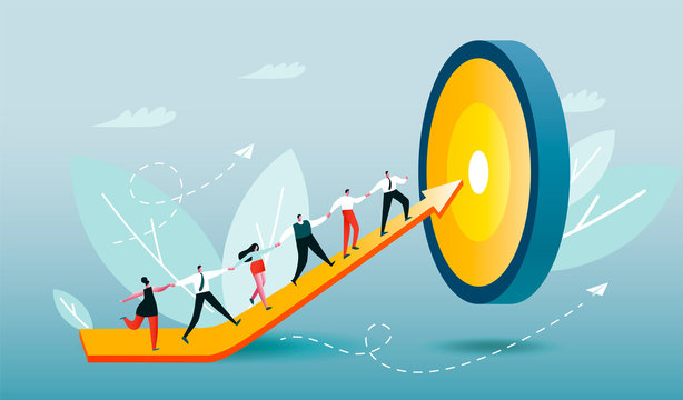 Corporate workers climb arrow to target. People rise their skills. Employees achieve goal. Team building work in progress. Conceptual vector illustration EPS 10 on light blue background