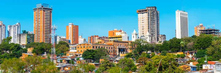 Foto auf Leinwand Blau Skyscrapers and city buildings, Asuncion, Paraguay. City landscape. Copy space for text.