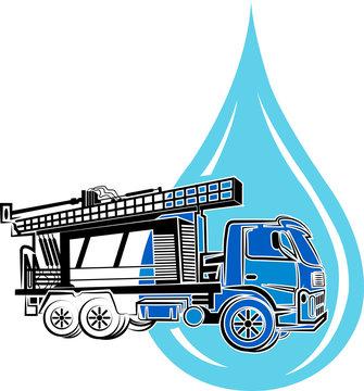 well drilling truck logo