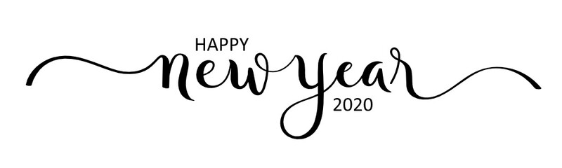 Wall Mural - HAPPY NEW YEAR 2020 black brush calligraphy banner with stars