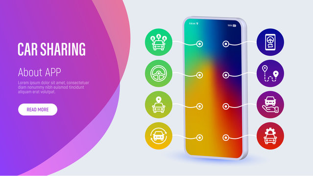 Car sharing web page template with copy space. Mobile app on smartphone: driver license, route, key, route, open and close car, sync thin line icons. Vector illustration for presentation.