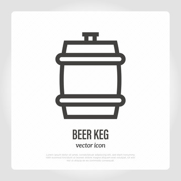 Beer keg thin line icon. Vector illustration of barrel.