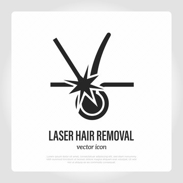 Laser hair removal thin line icon. Follicle destruction by laser. Cosmetology procedure of epilation. Vector illustration.