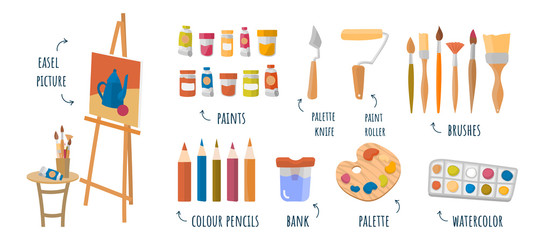Flat vector infographic art studio, designing, drawing, art, education, creativity.Online courses, tutorials for mobile and web graphics. Paints, easel, brushes, palette knife, palette, pencils,paints