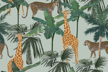 Tropical seamless pattern with palm trees, giraffes and leopards. Summer yungle background. Vintage vector illustration. Rainforest landscape