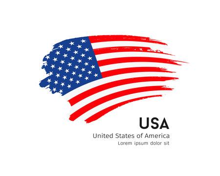 Flag of usa vector brush stroke design isolated on white background, illustration