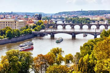 Aluminium Prints Prague Amazing sunset aerial view of the Old Town pier architecture and Charles Bridge over Vltava river in Prague, Czech Republic