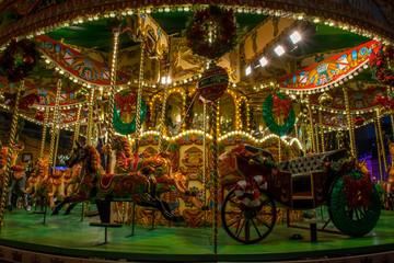 Beautiful big christmas carousel with lights
