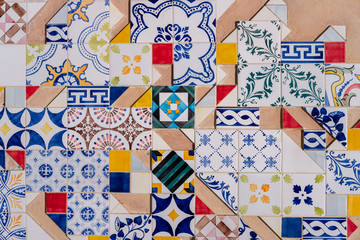 Traditional old ornate portuguese decorative tiles azulejos.